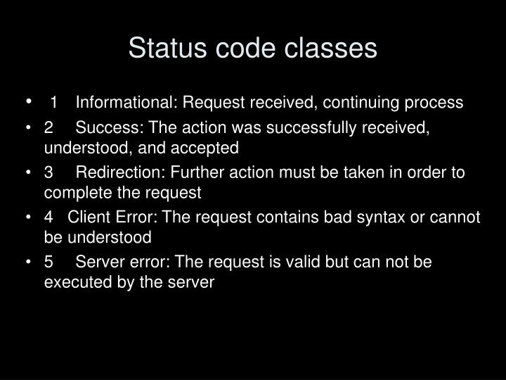Status code classes