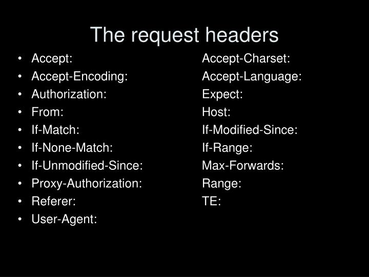 The request headers