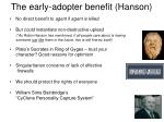 the early adopter benefit hanson