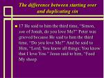 the difference between starting over and duplicating sin20