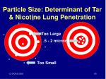 particle size determinant of tar nicotine lung penetration