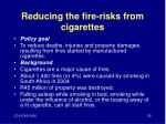 reducing the fire risks from cigarettes