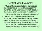 central idea examples