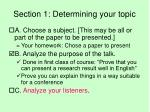 section 1 determining your topic2