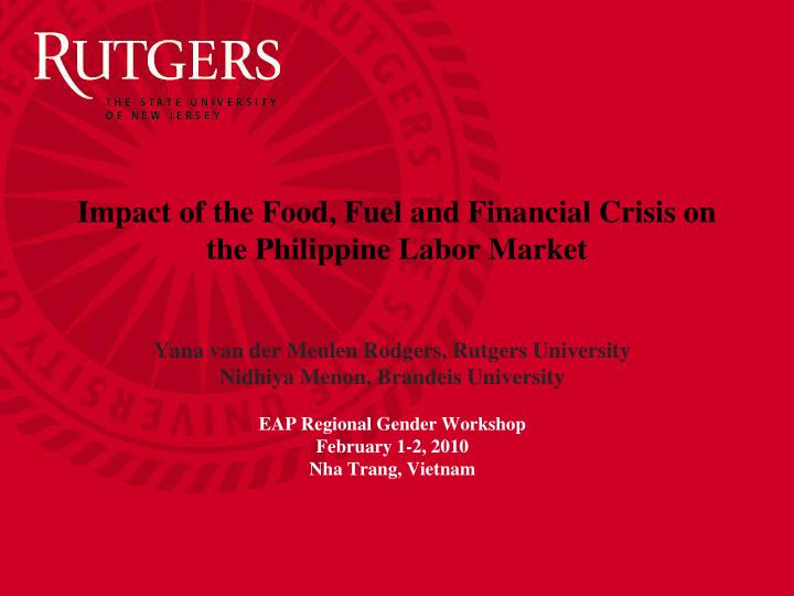 impact of the food fuel and financial crisis on the philippine labor market n.