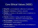 core ethical values niee