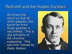 red shift and the hubble constant