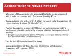 actions taken to reduce net debt