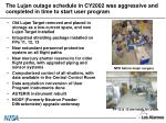 the lujan outage schedule in cy2002 was aggressive and completed in time to start user program