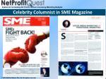 celebrity columnist in sme magazine