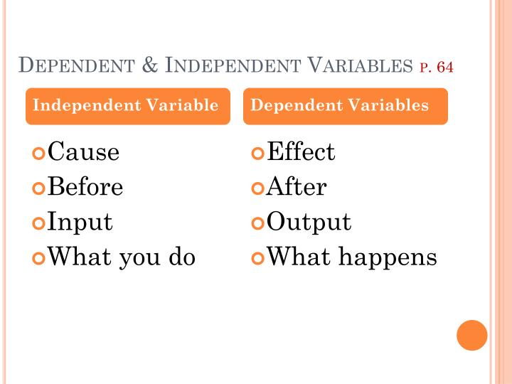 Dependent independent variables p 64