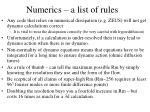 numerics a list of rules