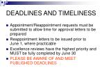 deadlines and timeliness