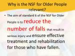 why is the nsf for older people relevant