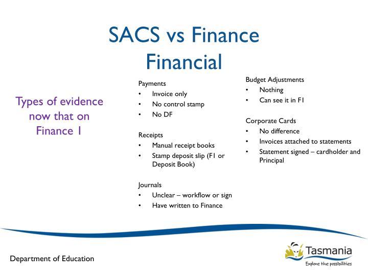 Sacs vs finance financial