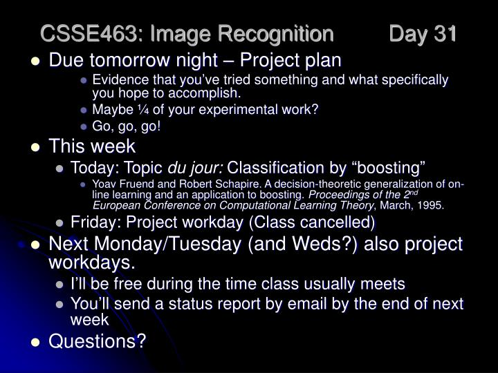 csse463 image recognition day 31 n.