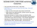 godae oopc ose osse workshop outcomes