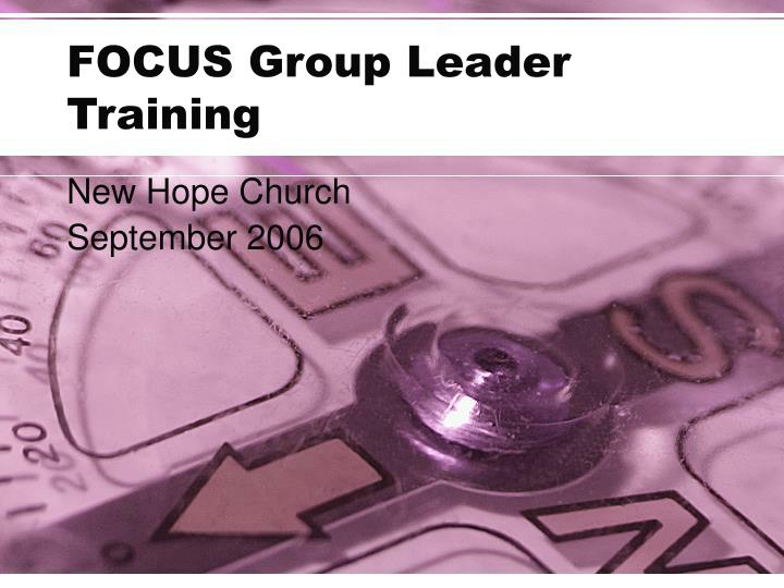 focus group leader training n.