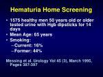 hematuria home screening