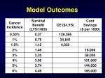 model outcomes