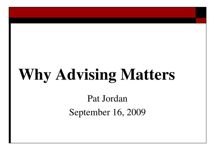 why advising matters n.