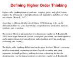 defining higher order thinking