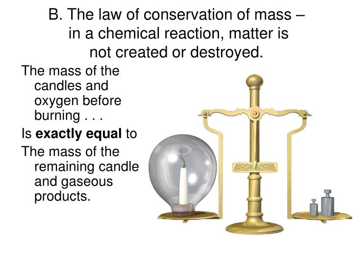 the law of conservation of mass I can observe and explain the law of conservation of mass i can ask scientific questions about observations and formulate hypotheses i can interpret my observations from the lab.