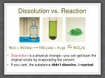 dissolution vs reaction