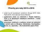 priority pro roky 2015 a 2016