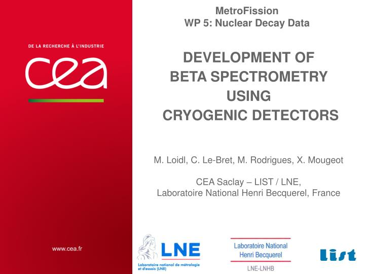 development of beta spectrometry using cryogenic detectors n.