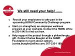 we still need your help