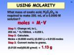 using molarity