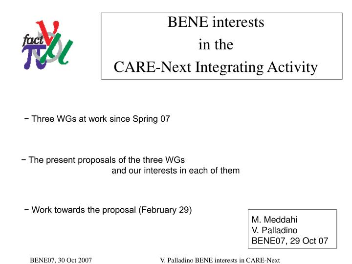 bene interests in the care next integrating activity n.