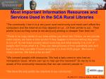 most important information resources and services used in the sca rural libraries1