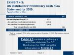 exhibit 4 3 os distributors preliminary cash flow statement for 2000 figures in millions of dollars