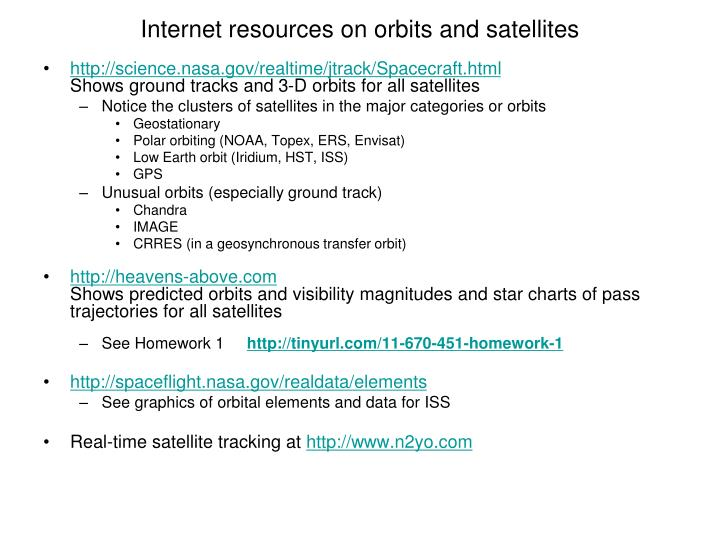Internet resources on orbits and satellites