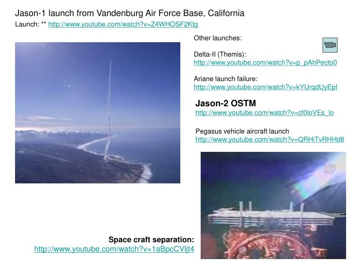 Jason-1 launch from Vandenburg Air Force Base, California