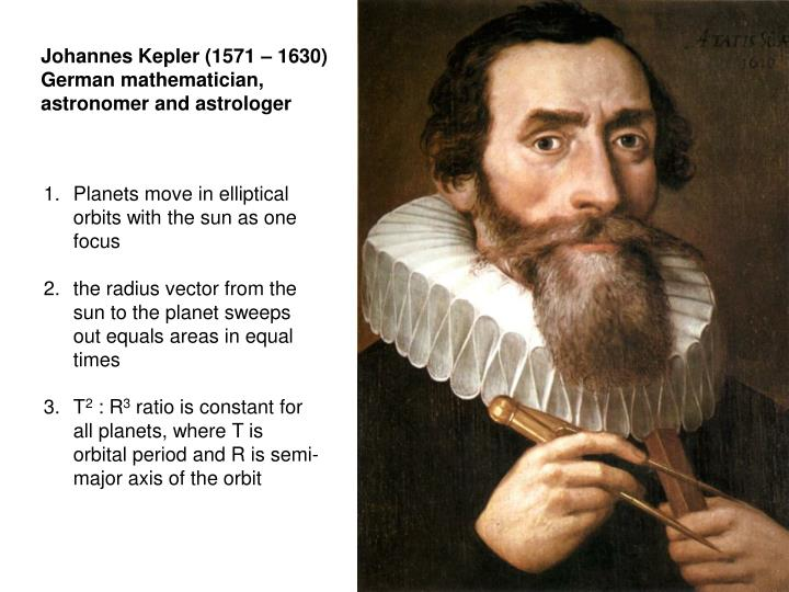 Johannes Kepler (1571 – 1630) German mathematician, astronomer and astrologer
