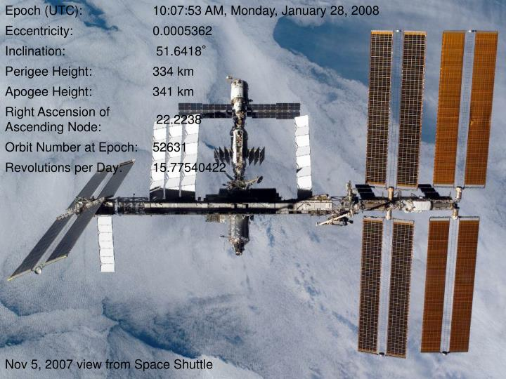 Nov 5, 2007 view from Space Shuttle