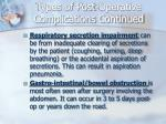 types of post operative complications continued