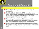 country led evaluation