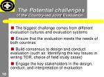 the potential challenges of the country led joint evaluation
