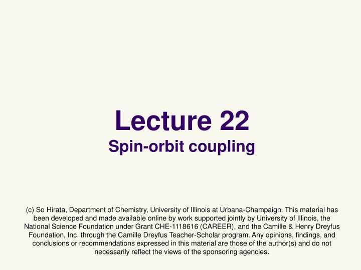lecture 22 spin orbit coupling n.