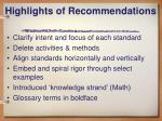 highlights of recommendations