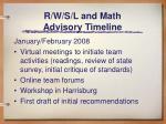 r w s l and math advisory timeline