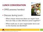 lunch conversation