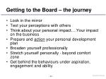 getting to the board the journey