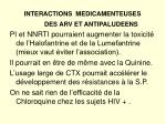 interactions medicamenteuses des arv et antipaludeens