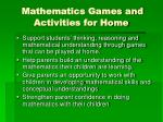 mathematics games and activities for home