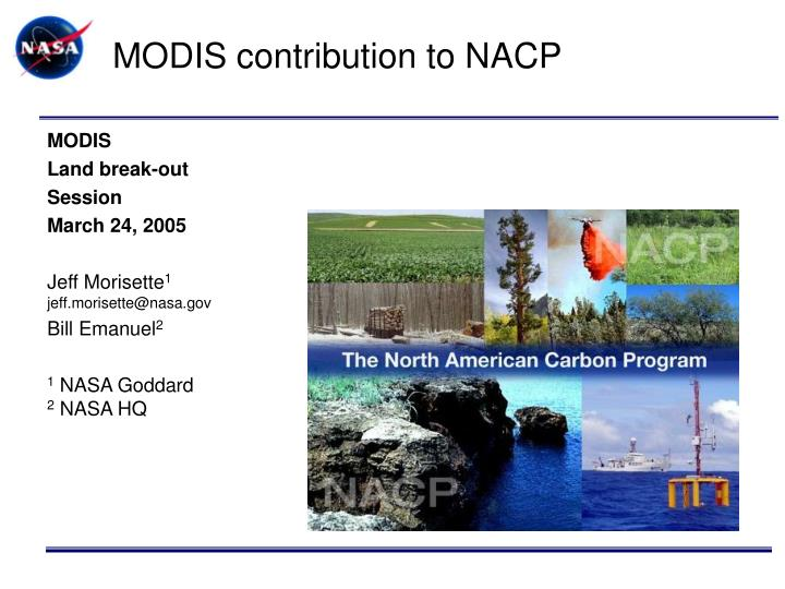 modis contribution to nacp n.